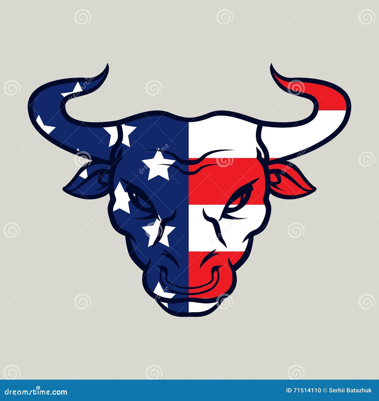 Angry Bull, Logo, Symbol American Flag Stock Vector ...