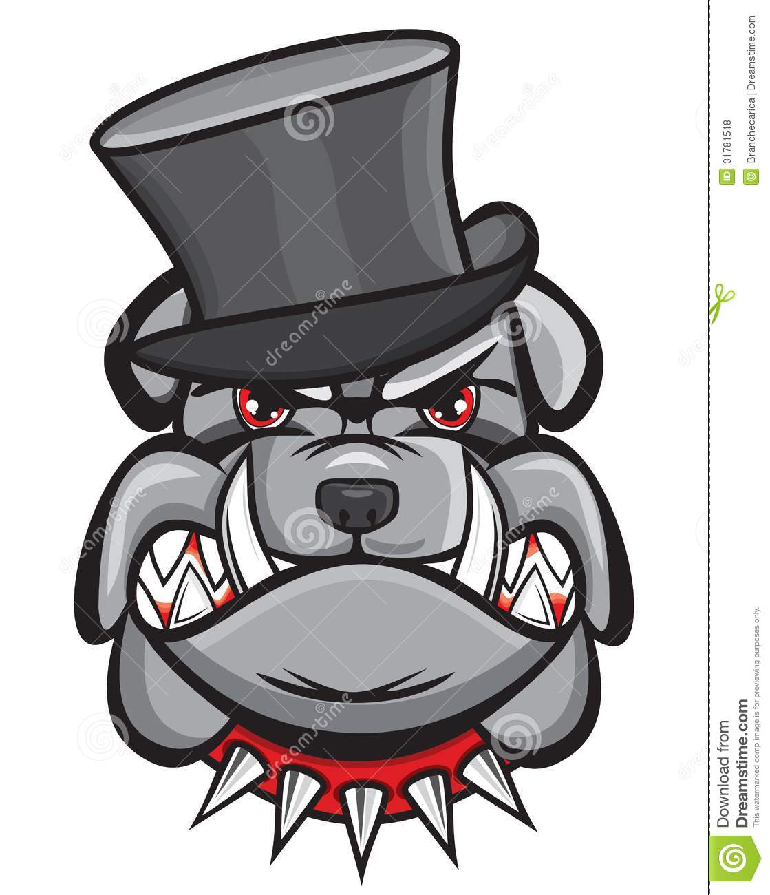 angry bulldog head with hat stock vector