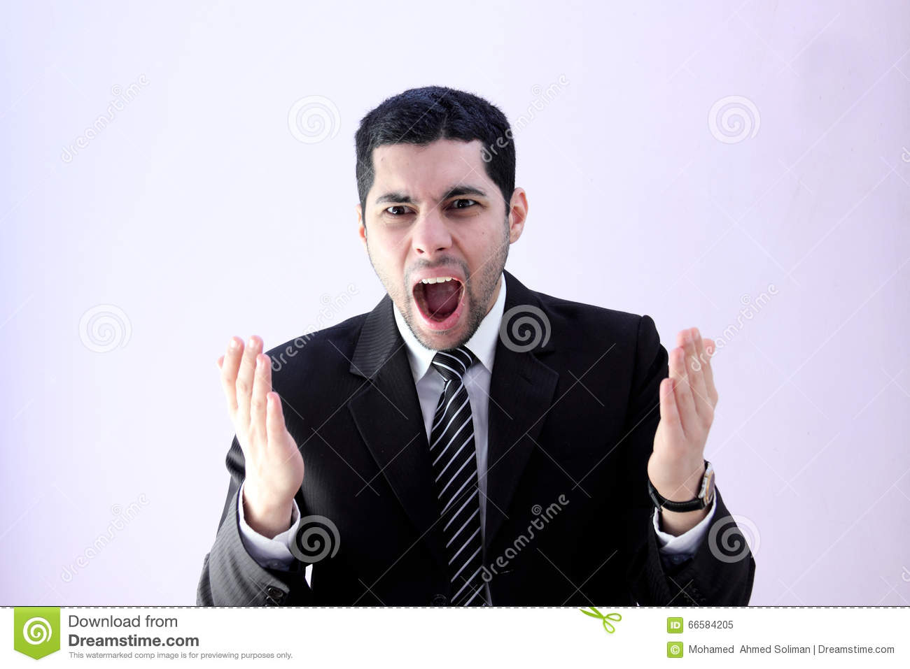 Angry business man screaming