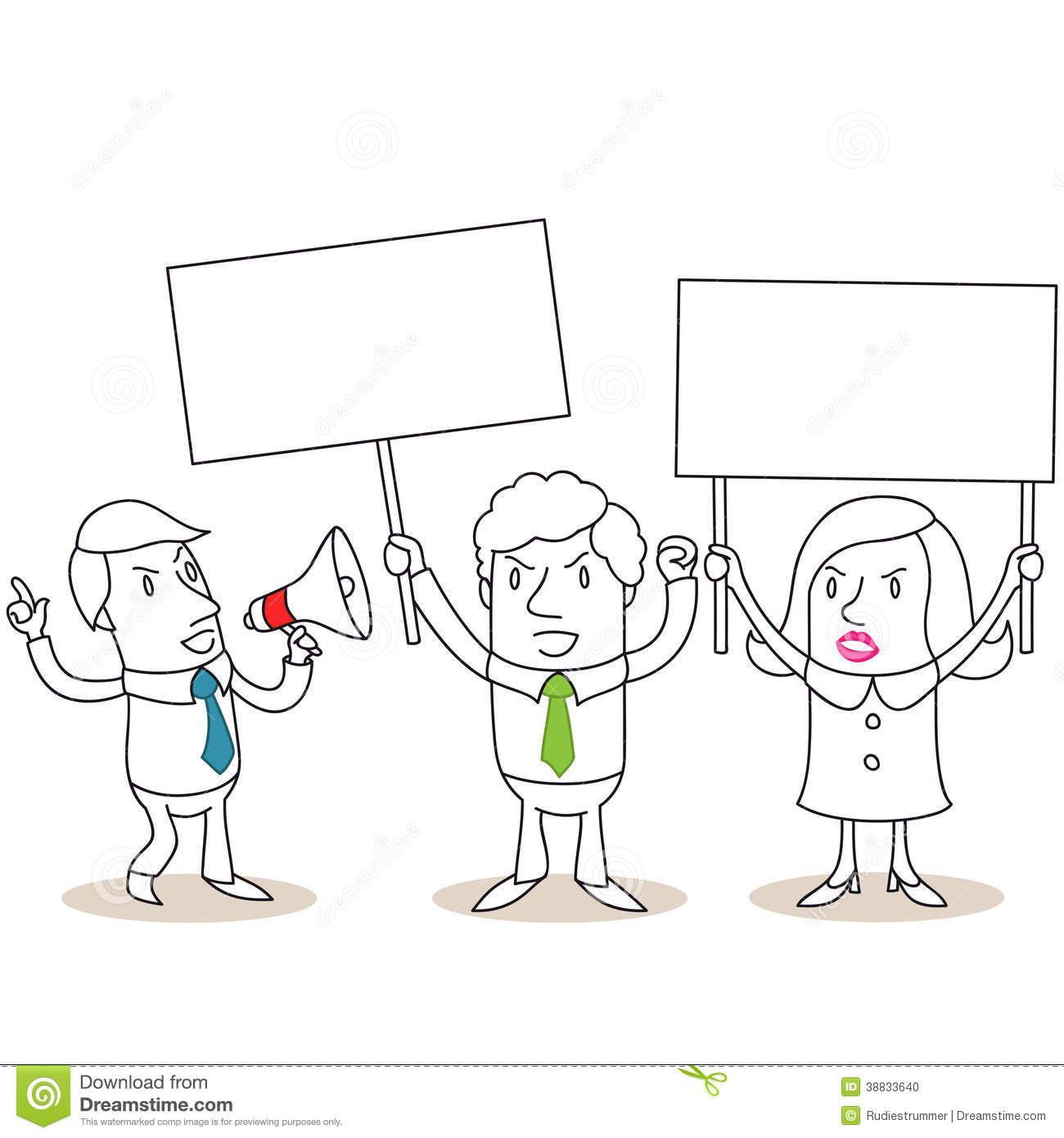 Angry Business People Protesting With Blank Signs Stock Vector - Image ...