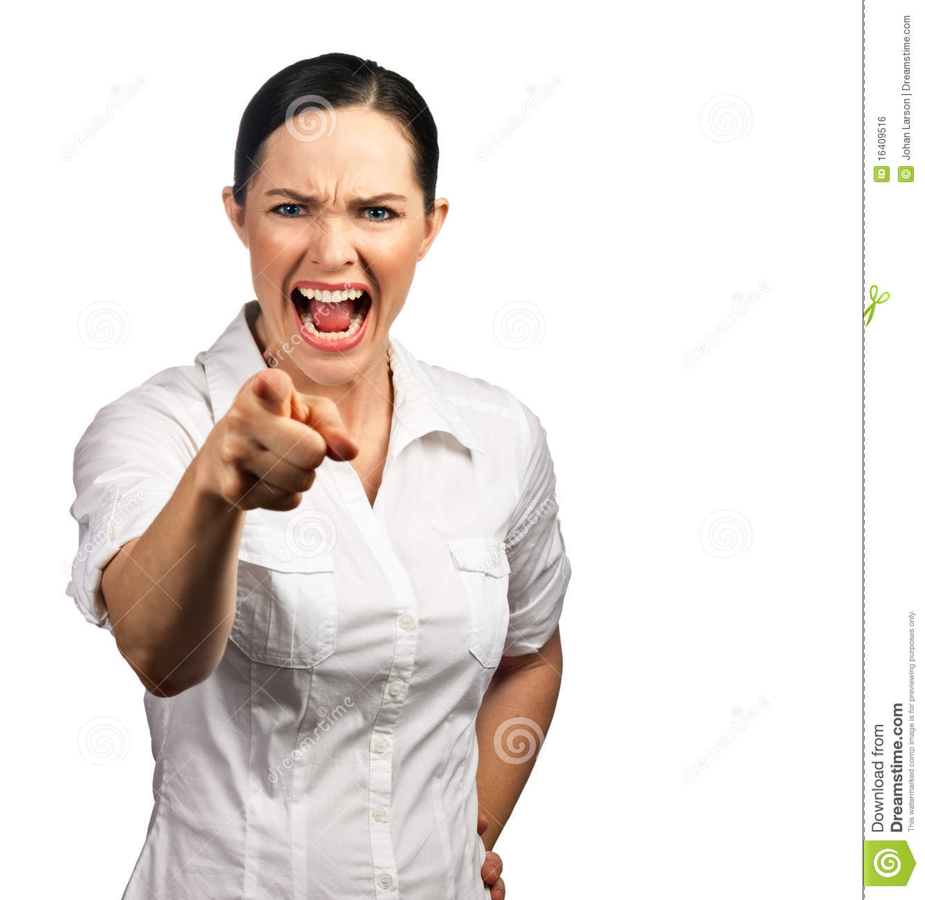 Angry Business Woman Pointing Her Finger Royalty Free ...