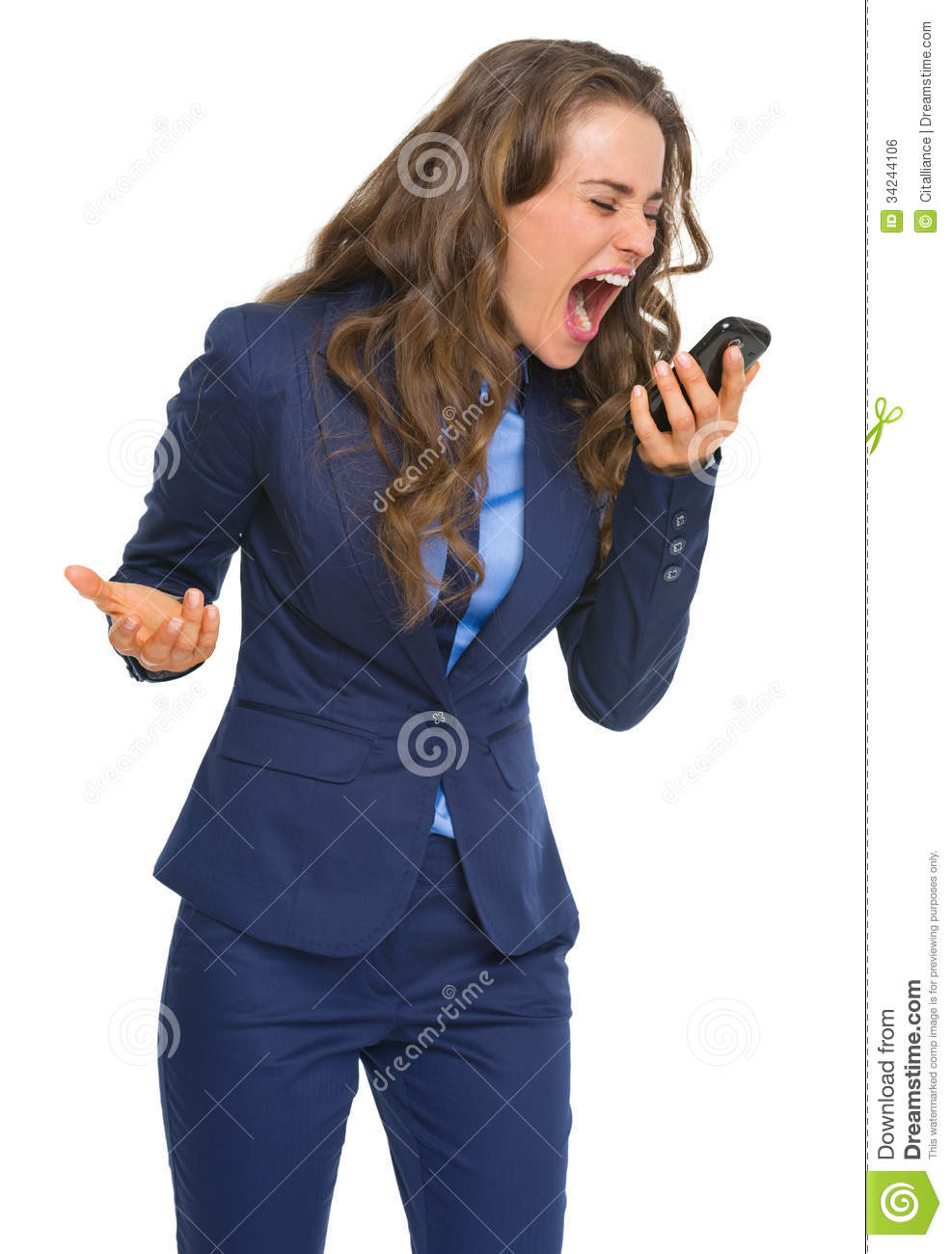 Download Angry Business Woman Shouting In Cell Phone Stock Photo - Image of caucasian, work: 34244106