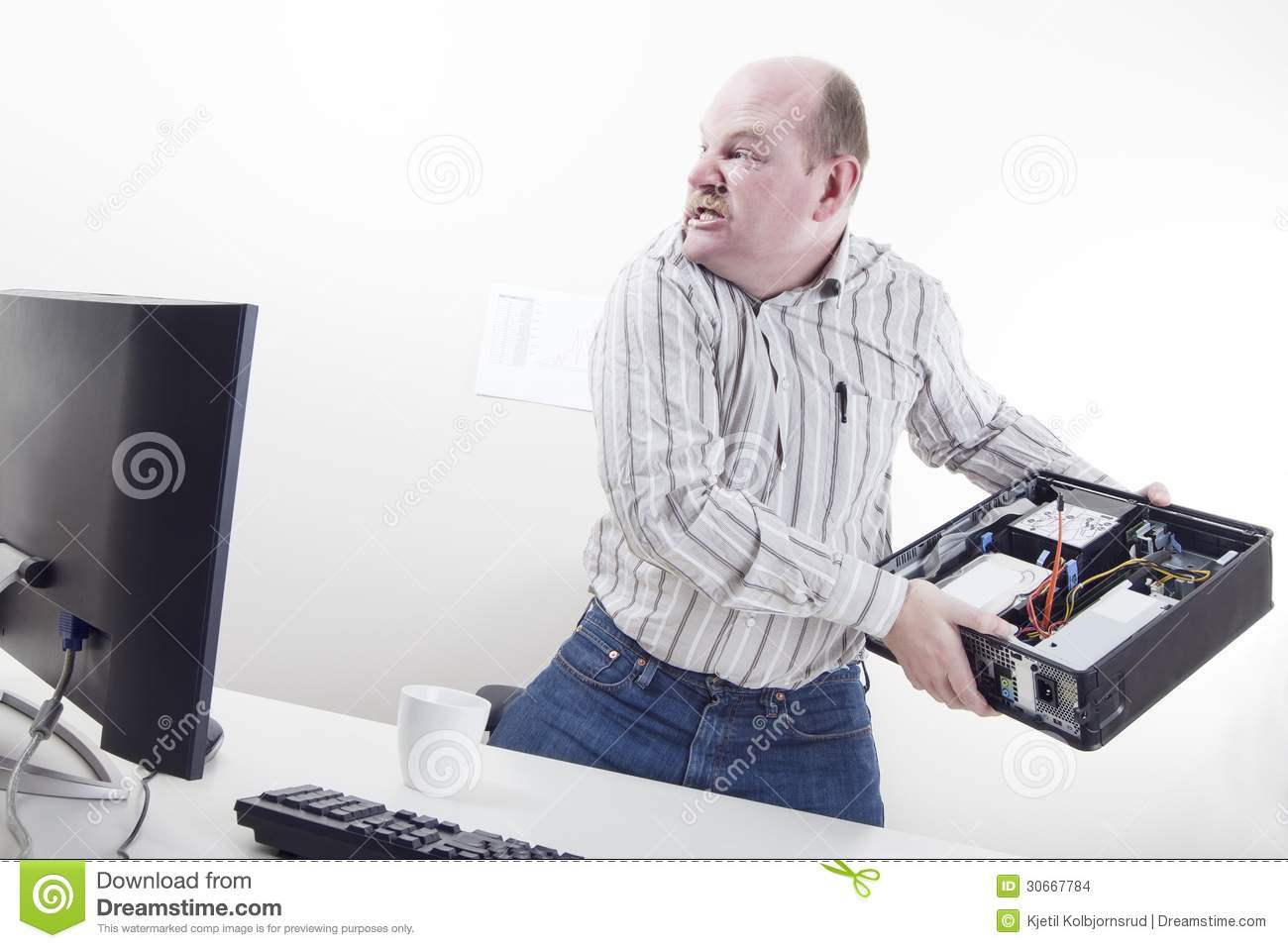 Angry Businessman With Computer Problems Stock Images - Image ...