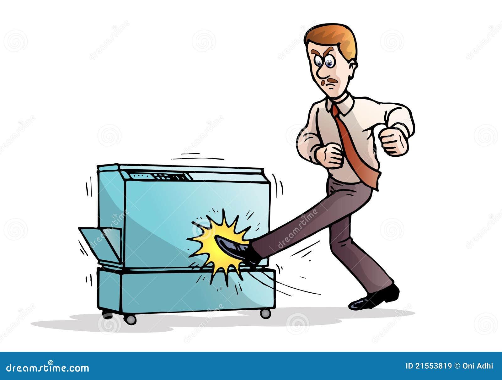 Businessman Destroying Computer Using Keyboard Stock