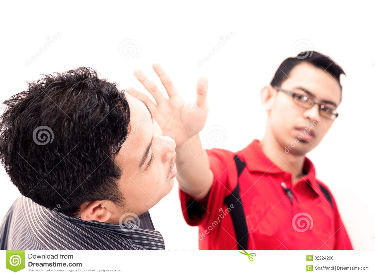 Angry businessman is slapping across the businessman's face. Angry Black Woman Face