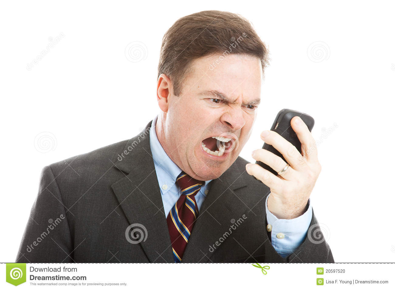 Angry Businessman Yelling Into Phone Stock Photo - Image ...