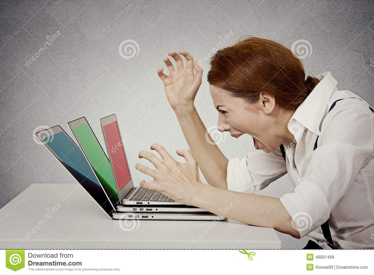 Angry Businesswoman Screaming At Computer Stock Photo ...
