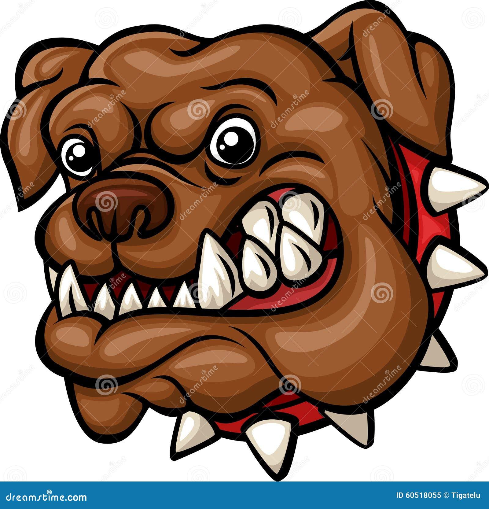 Angry cartoon bulldog face