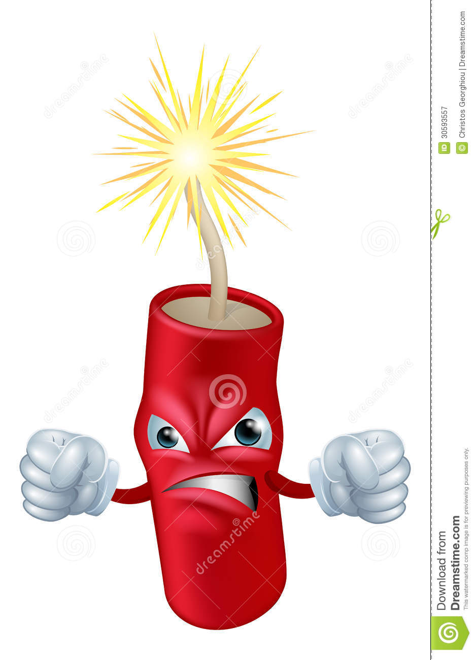 ... looking cartoon firecracker or stick of dynamite character or mascot