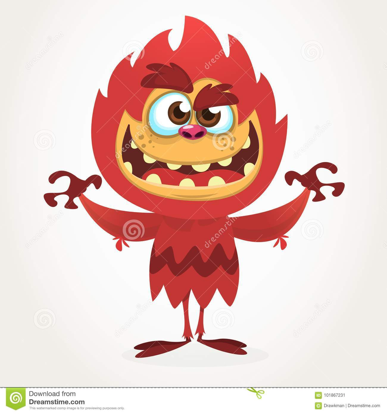 angry cartoon furry monster. halloween vector red monster. stock