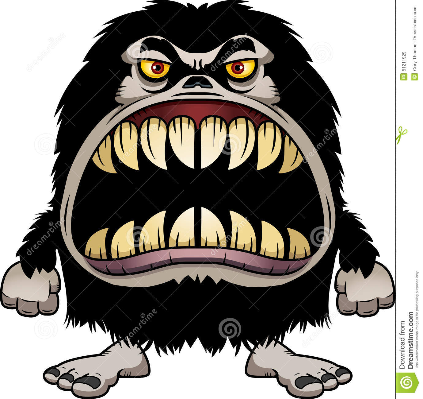 Angry Cartoon Hairy Monster Stock Vector Image 51211929