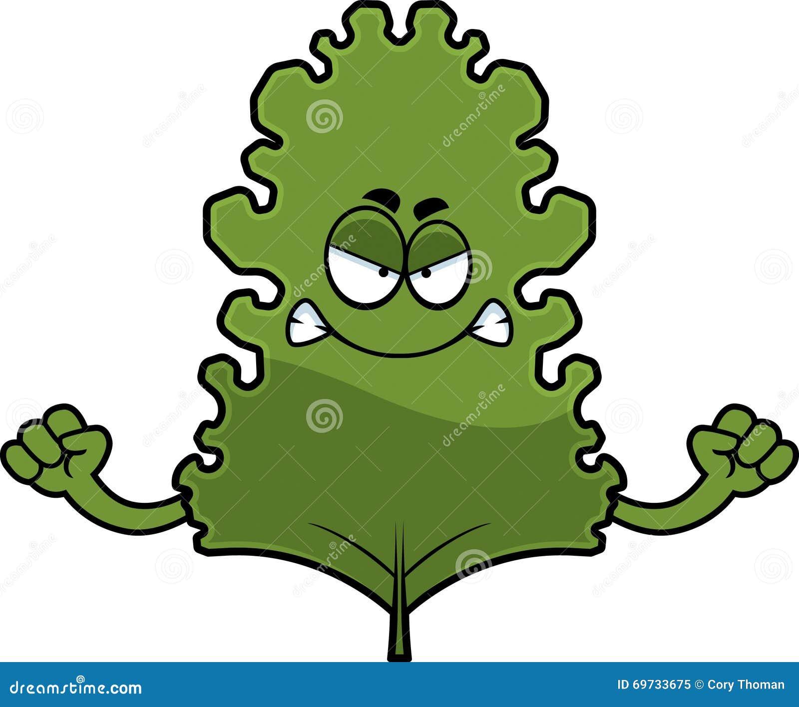 Angry Cartoon Kale Leaf