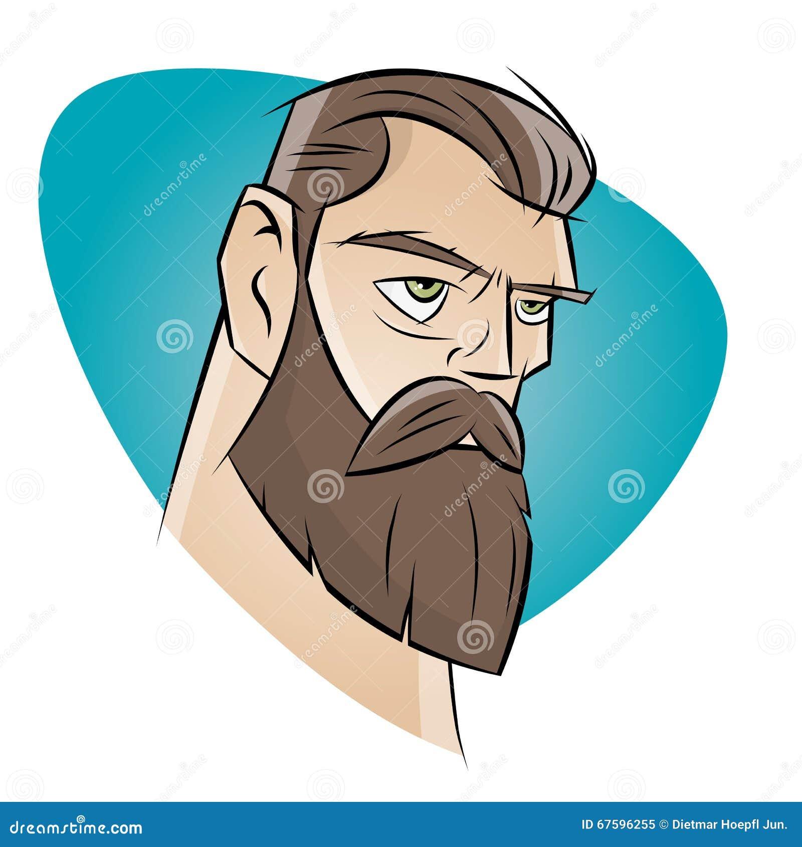 Man Beard Cartoon Wall...