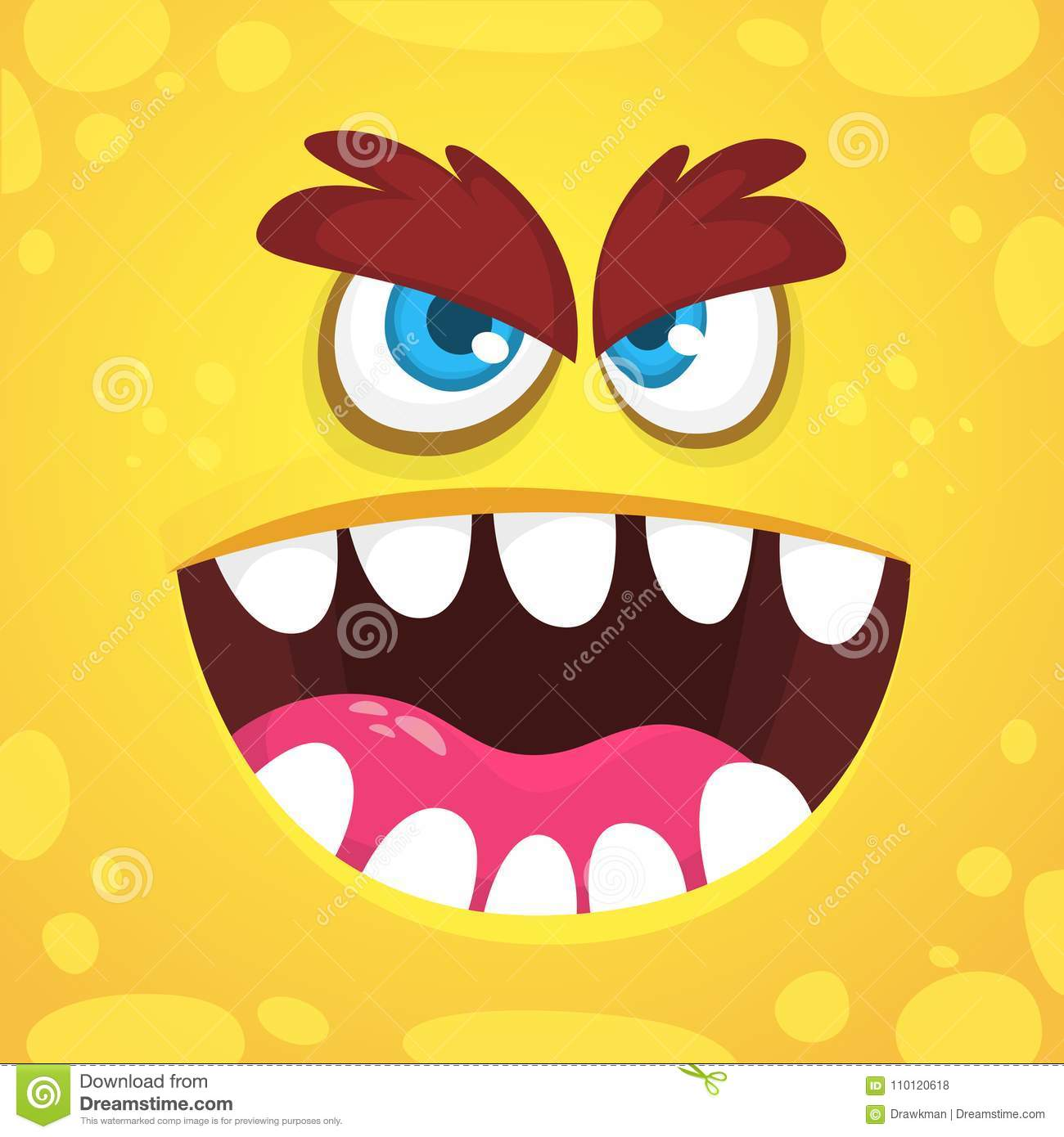 Angry cartoon monster face. Vector Halloween orange monster avatar. Design for print, children book, party decoration.