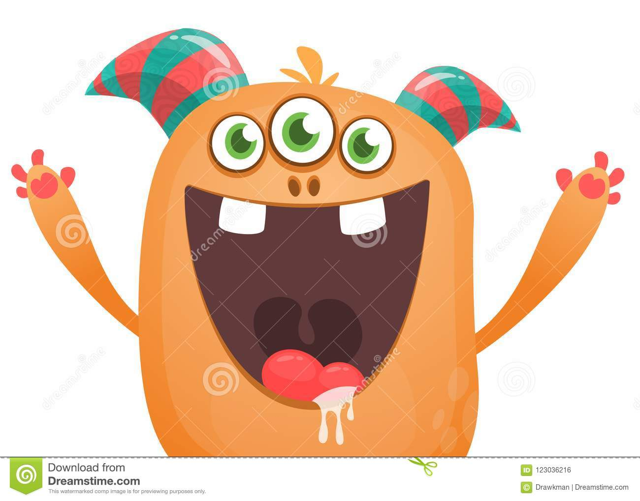 Angry Cartoon Monster With Horns An Three Eyes Big Collection Of Cute Monsters Halloween Character Stock Vector Illustration Of Beast Fluffy 123036216