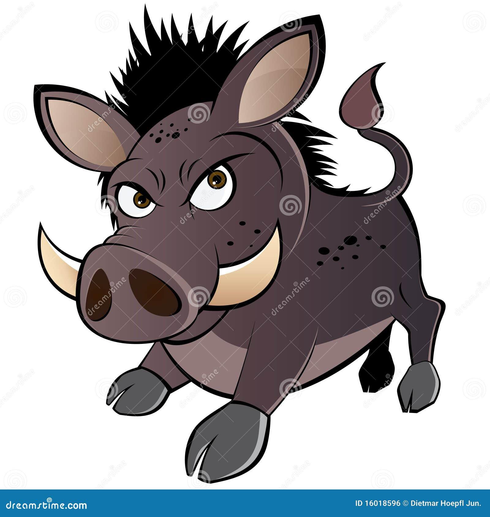 Angry cartoon warthog royalty free stock image