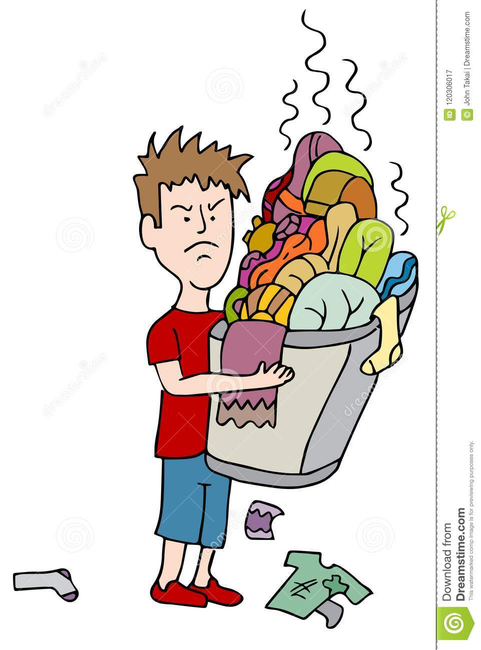 Angry Child Carrying Overflowing Basket of Dirty Laundry