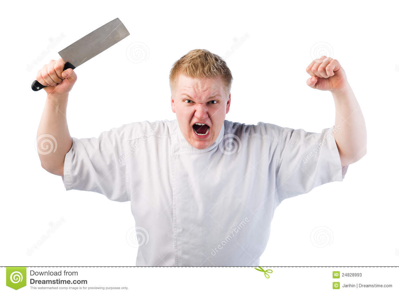 Young cook is really angry and he swinging knife in the air.