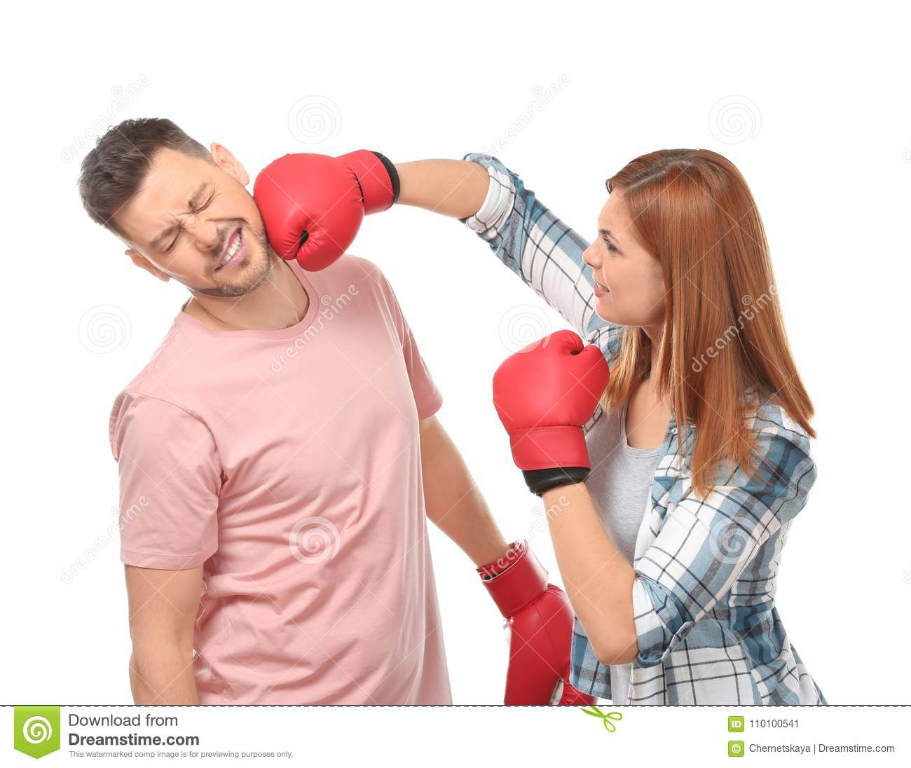 Angry Couple In Boxing Gloves Fighting Stock Image - Image ...