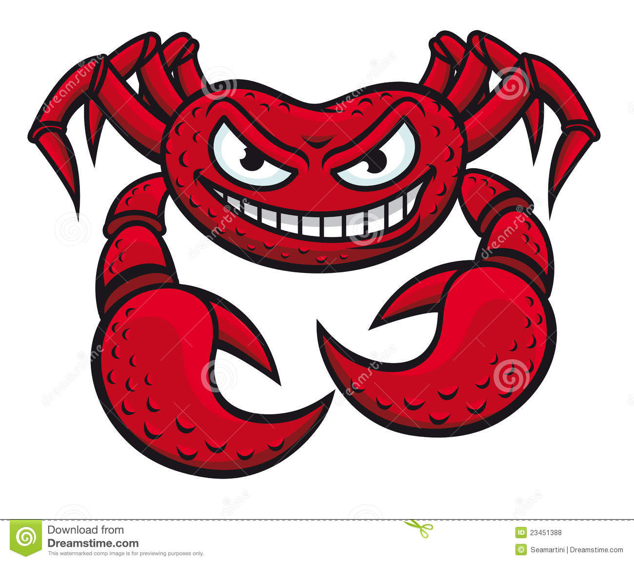 Crab In Cartoon Style Isolated On White Background For Mascot Design