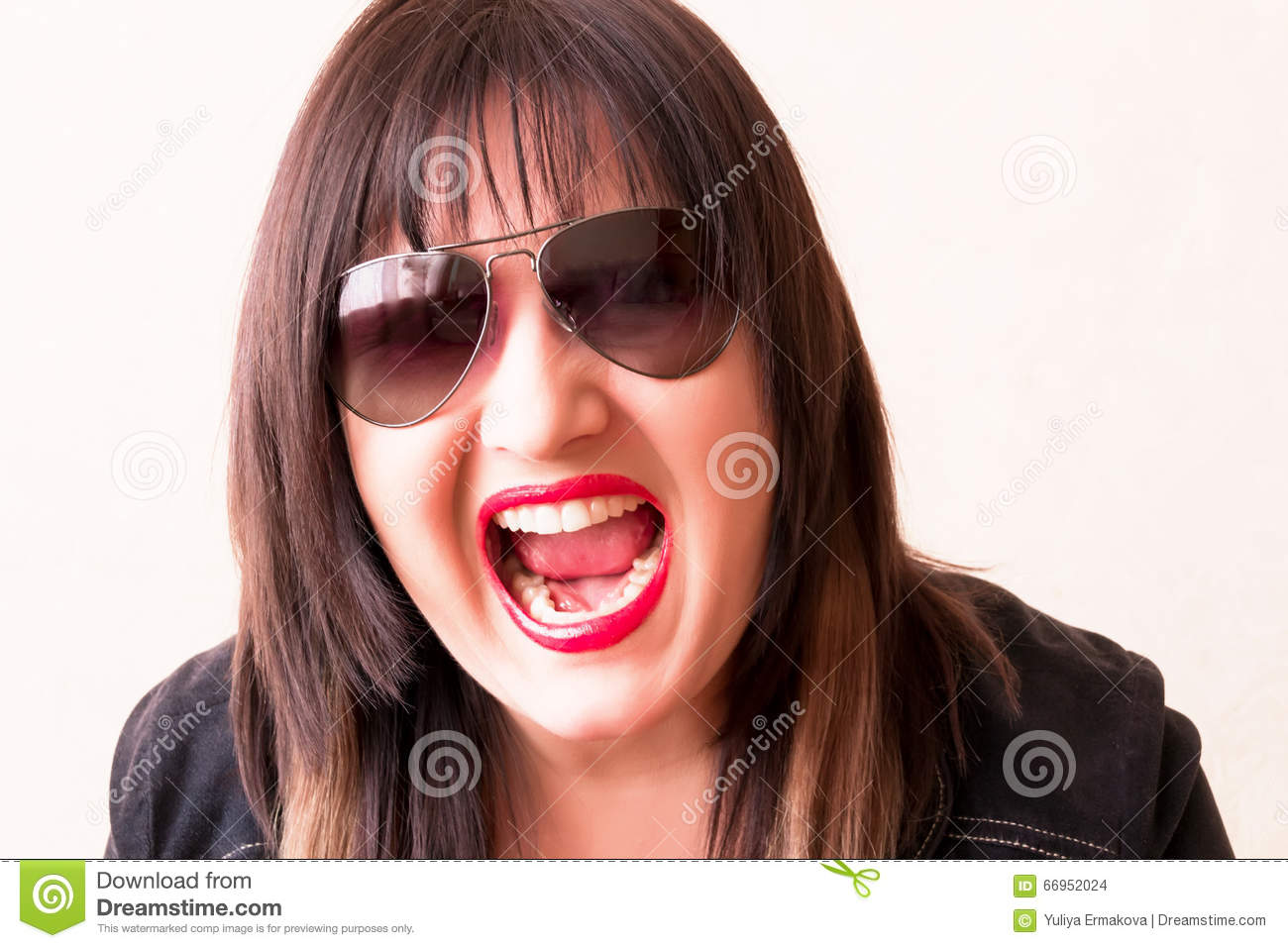 angry crying brunette in sunglass stock photo image of white