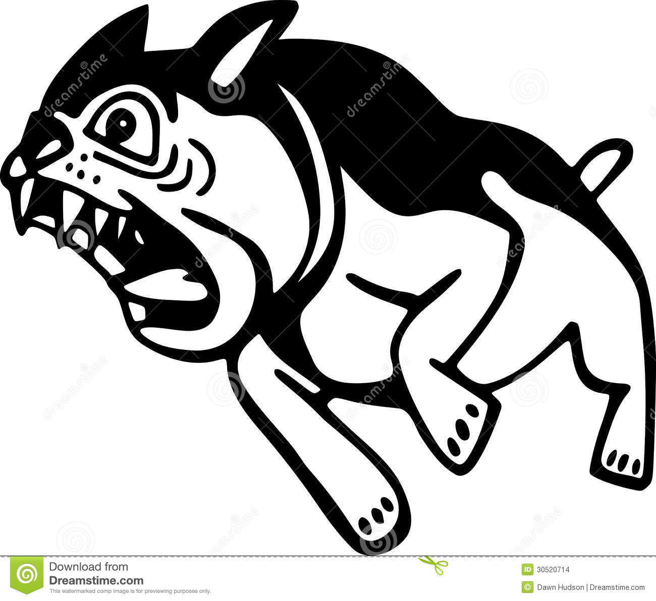 Simple black and white line drawing of a barking angry dog. Angry Black Wolf Drawing