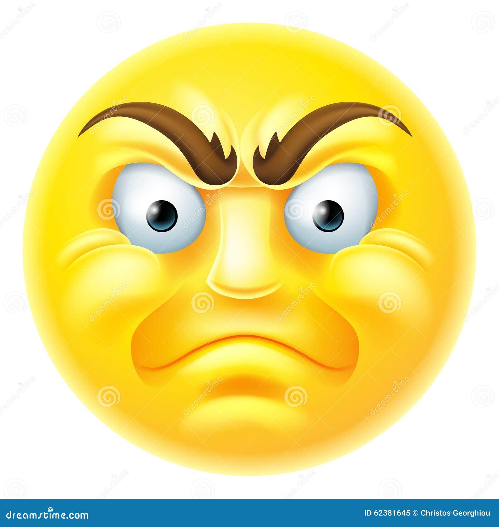 Angry Emoji Emoticon Cartoon Stock Vector Illustration