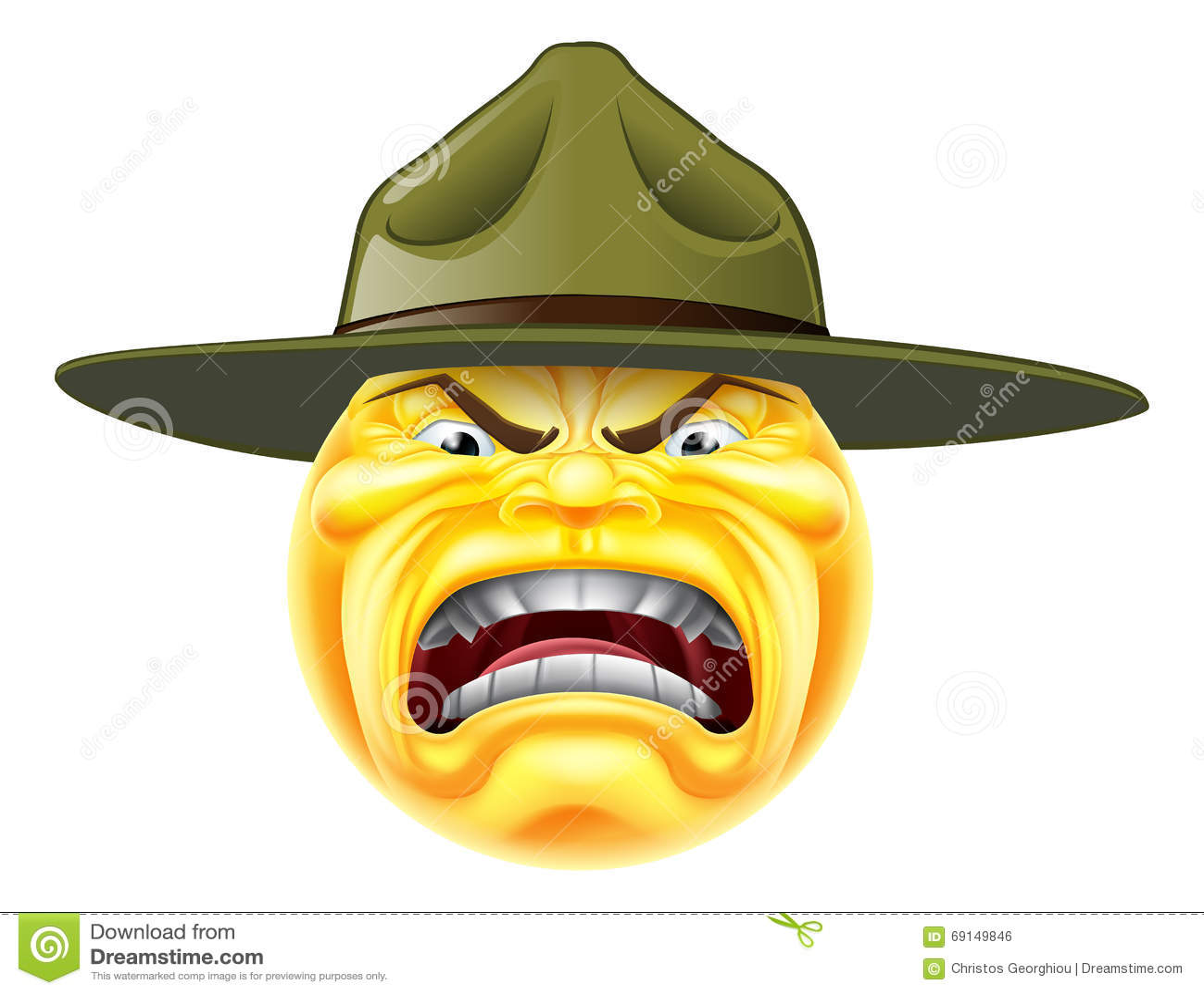 Angry Emoji Emoticon Drill Sergeant Stock Illustration