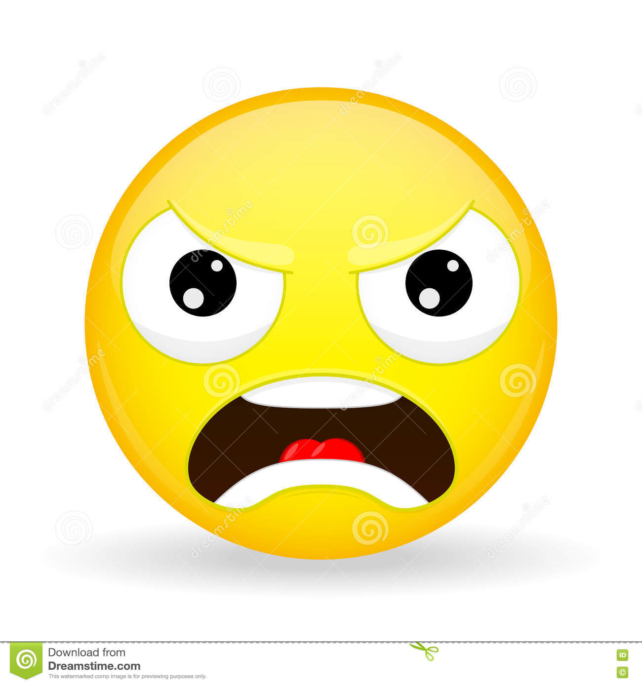Angry Emoji. Emotion Of Anger. Evil Emoticon. Cartoon ...