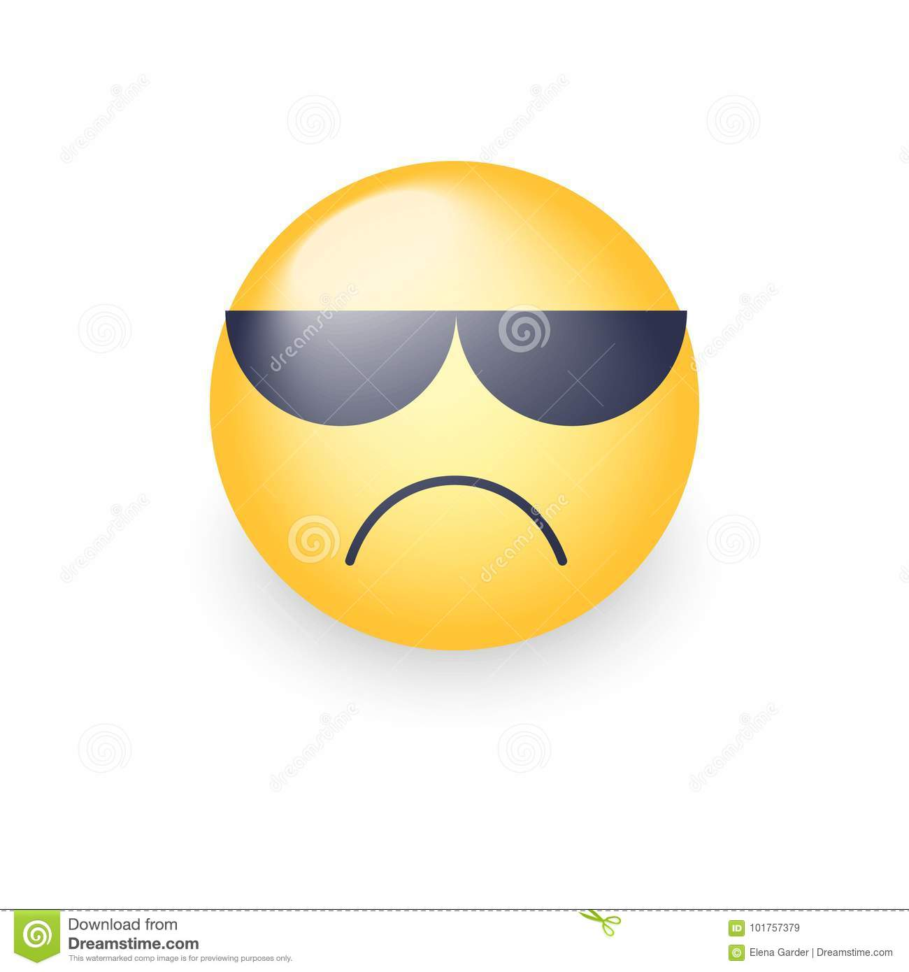 Angry Emoji Face With Sunglasses. Cute Sad Emoticon Wearing Black ...