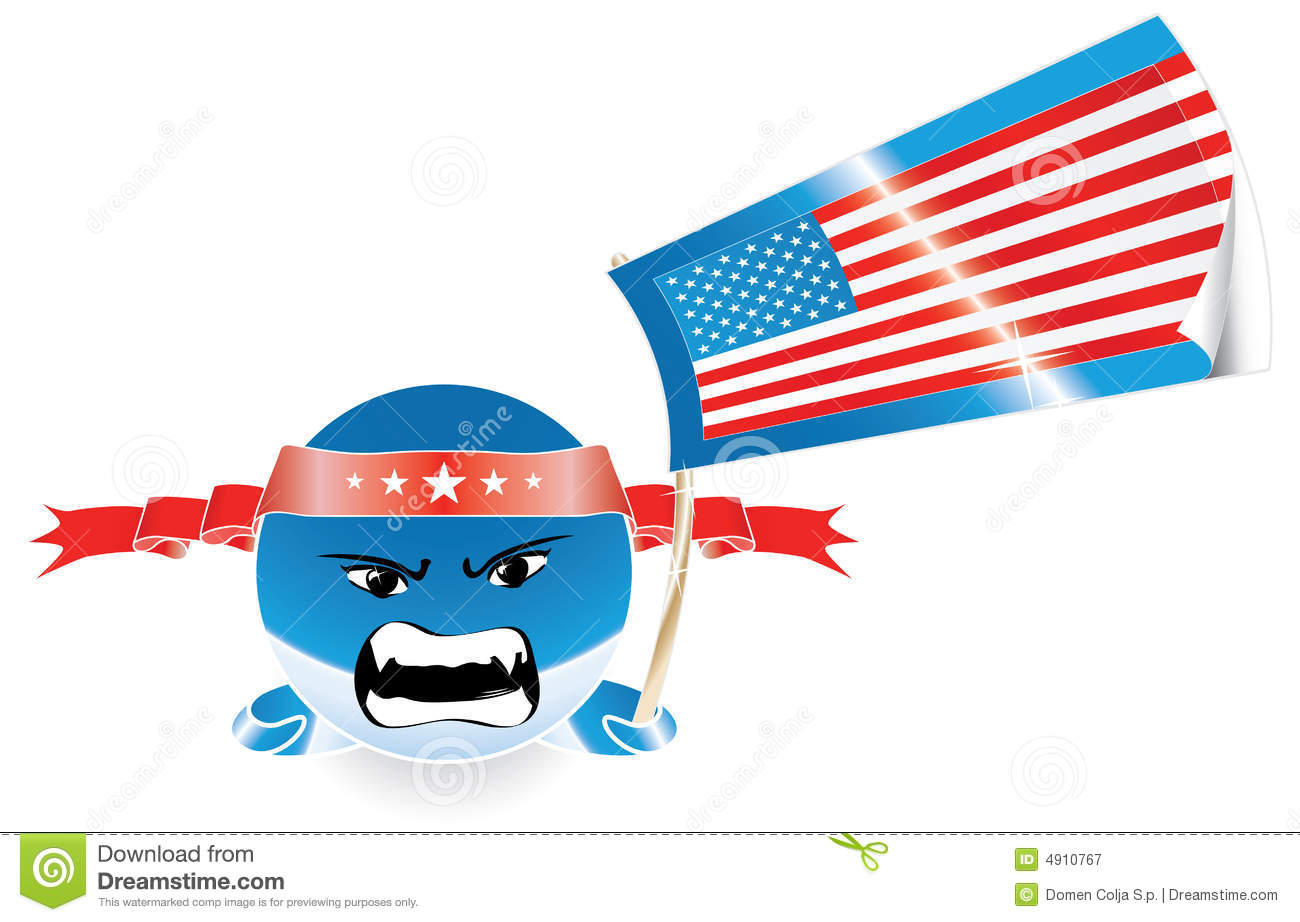 5e32079d975e Angry Evil American Emoticon With US Flag Stock Vector ...