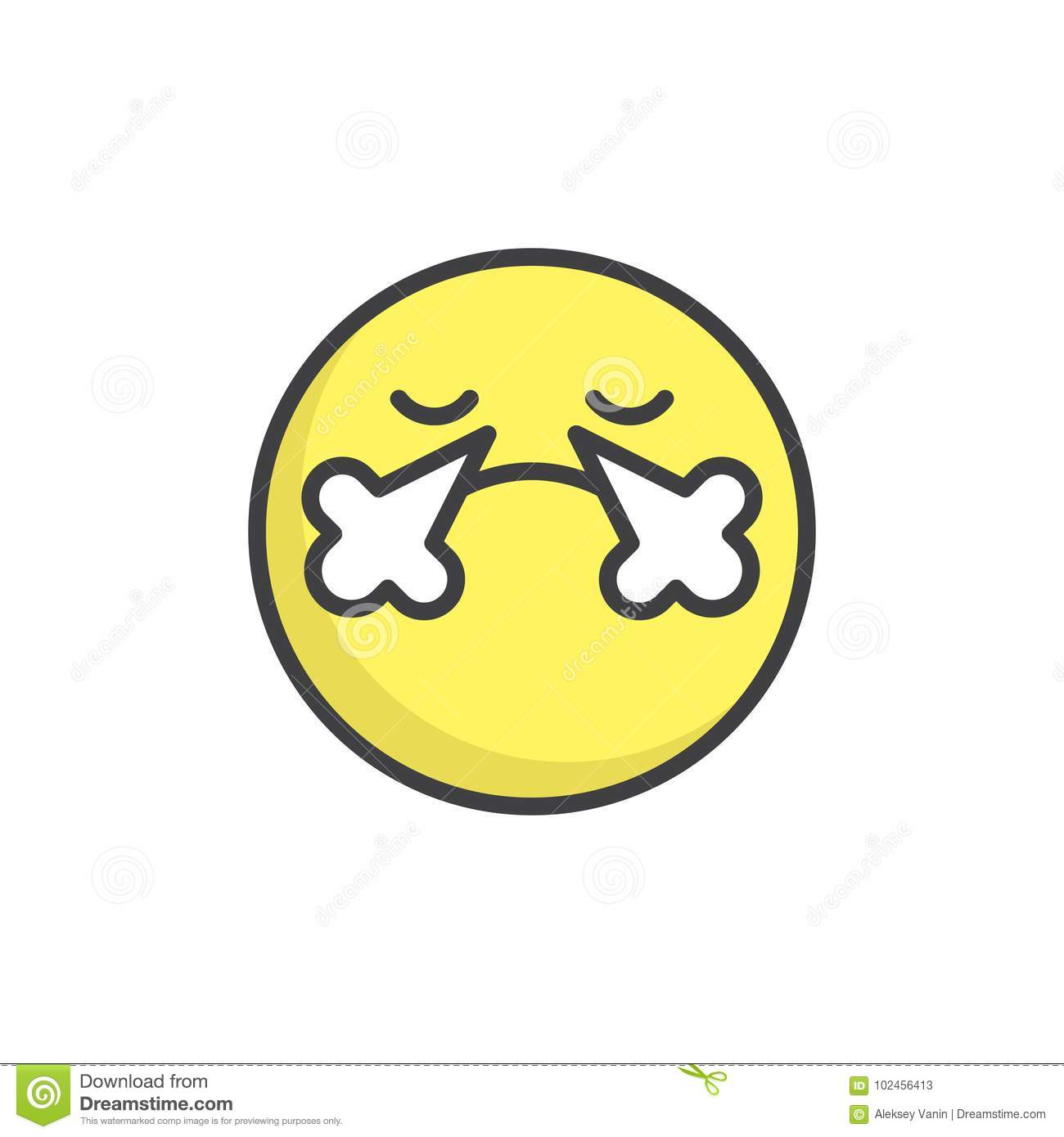 Angry Face Emoticon Filled Outline Icon Stock Vector Illustration