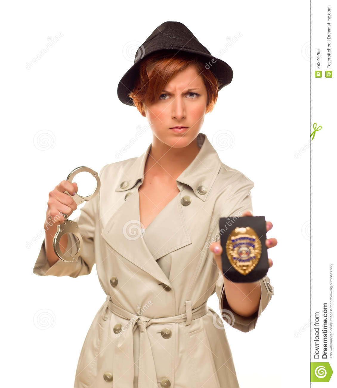 Royalty-Free Stock Photo  sc 1 st  Dreamstime.com & Angry Female Detective With Handcuffs And Badge In Trench Coat Stock ...