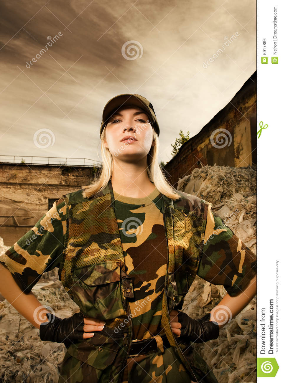 Angry Female Soldier Royalty Free Stock Image Image 5917896