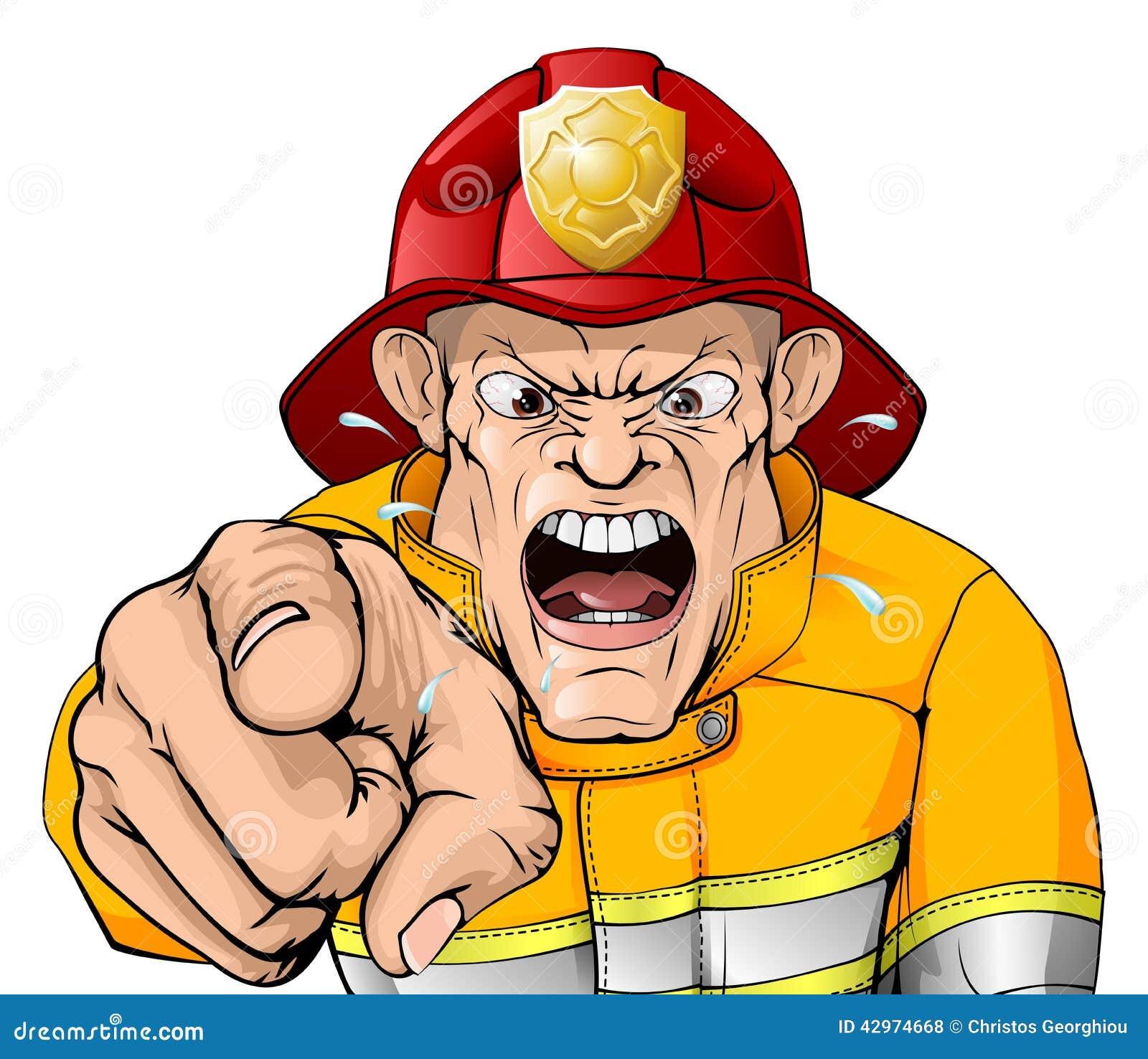 angry fireman cartoon stock vector   image 42974668