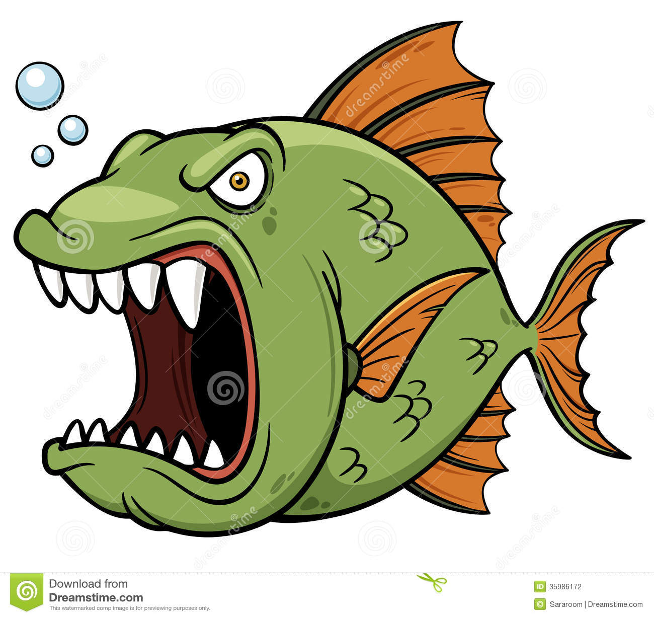 Scary Fish Cartoon Angry Fish Cartoon Stock