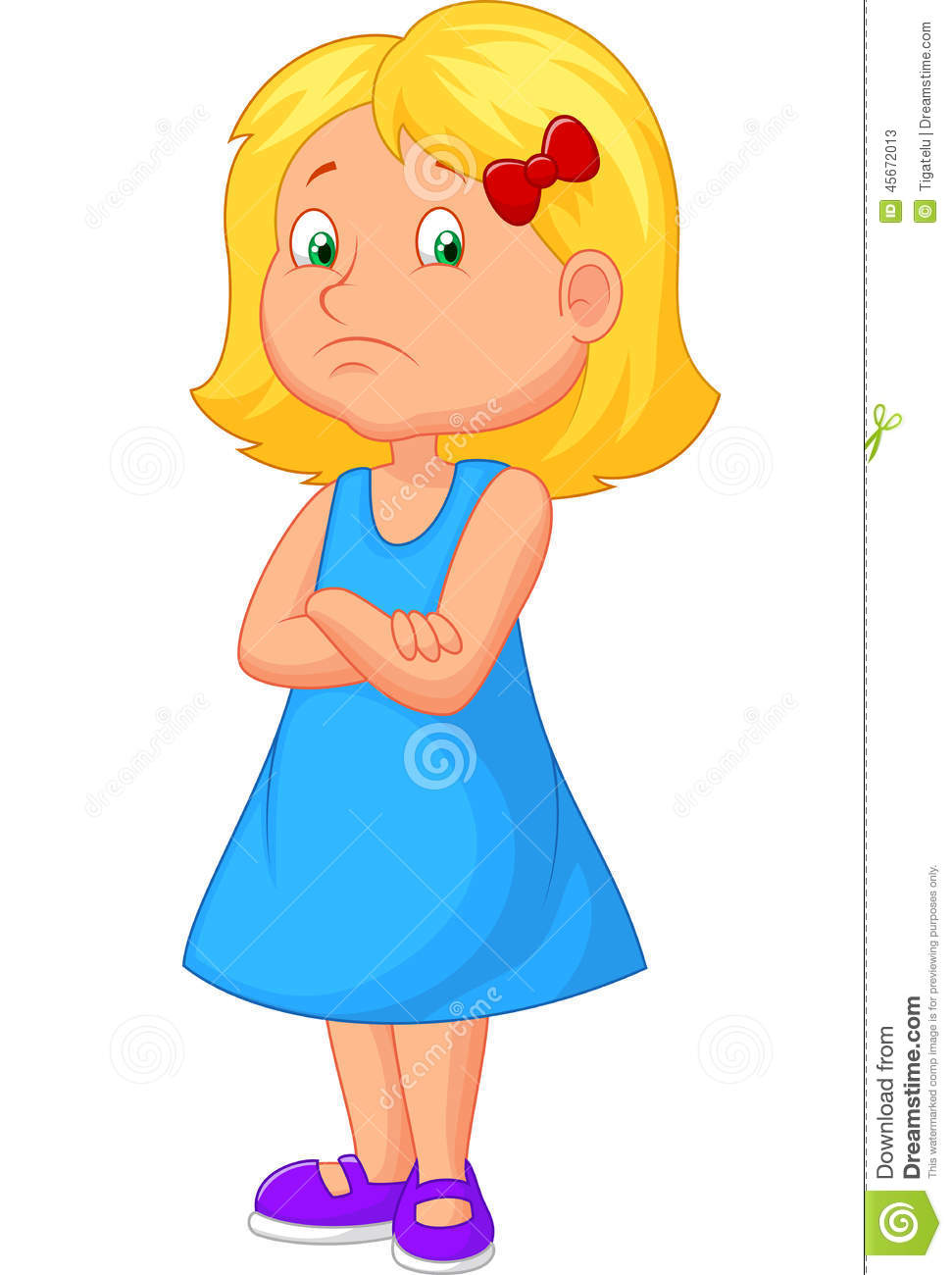 Angry girl cartoon stock vector. Illustration of child ...