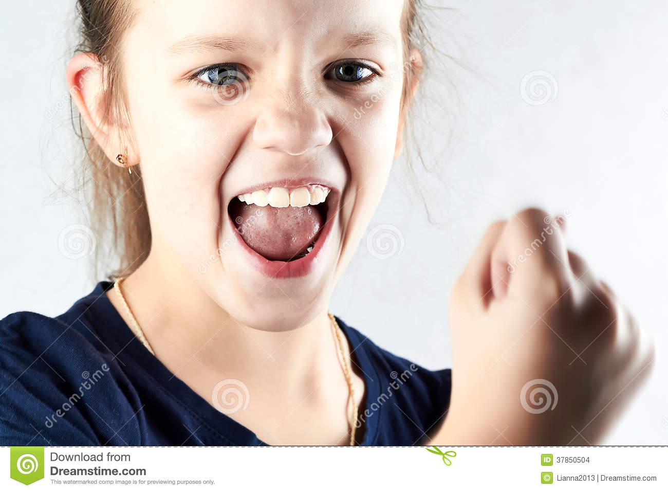 Angry Girl Screaming And Show Your Fist Stock Images ...