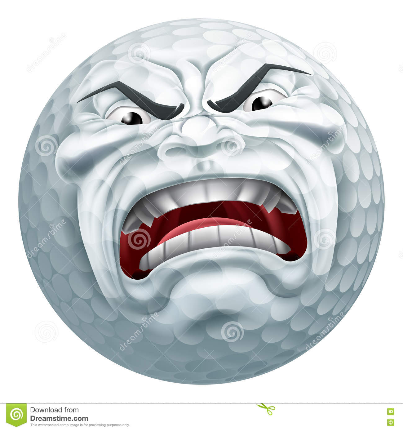 Angry Golf Ball Sports Cartoon Mascot Stock Vector - Image: 72528263