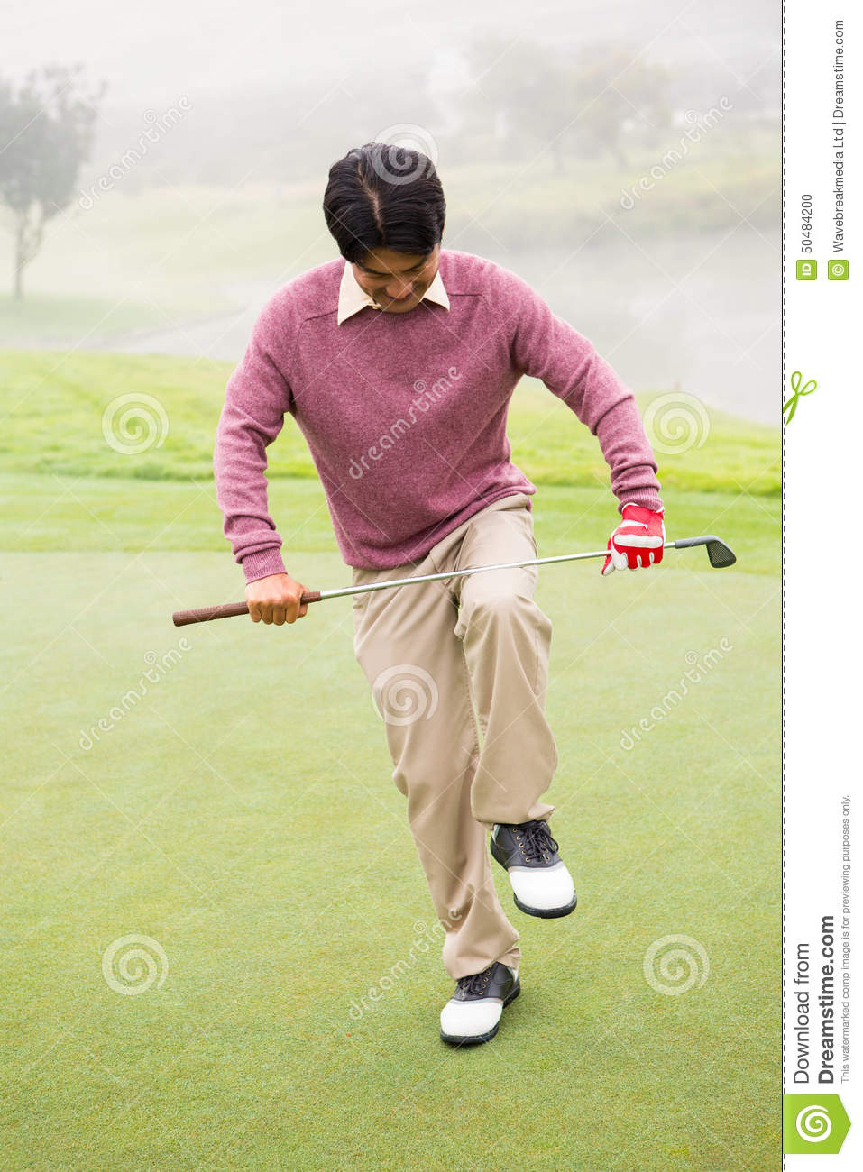 Angry Golfer Trying To Brake His Club Stock Photo Image Of