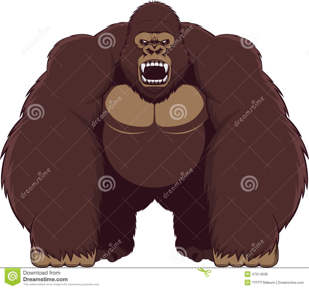 Angry ferocious gorilla vector illustration