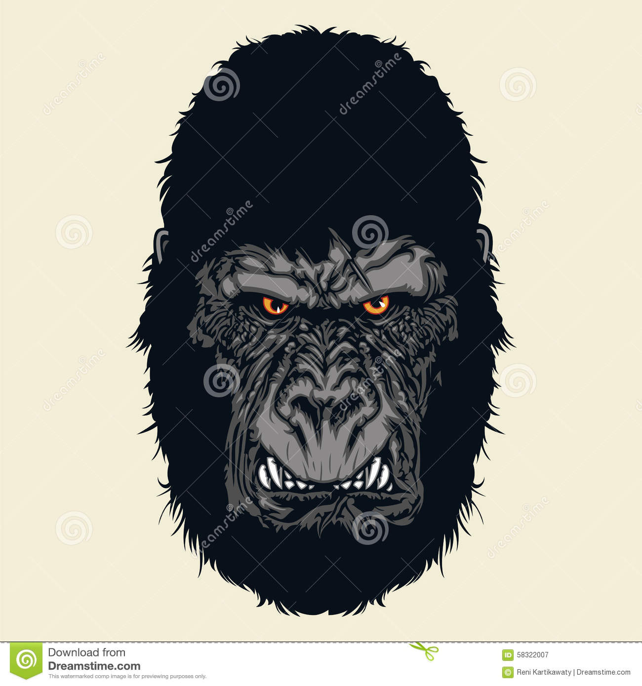 angry gorilla head drawing - photo #31
