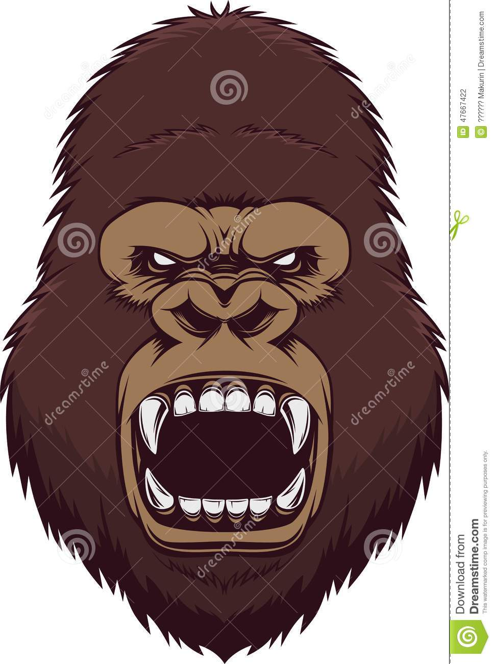 angry gorilla head drawing - photo #16