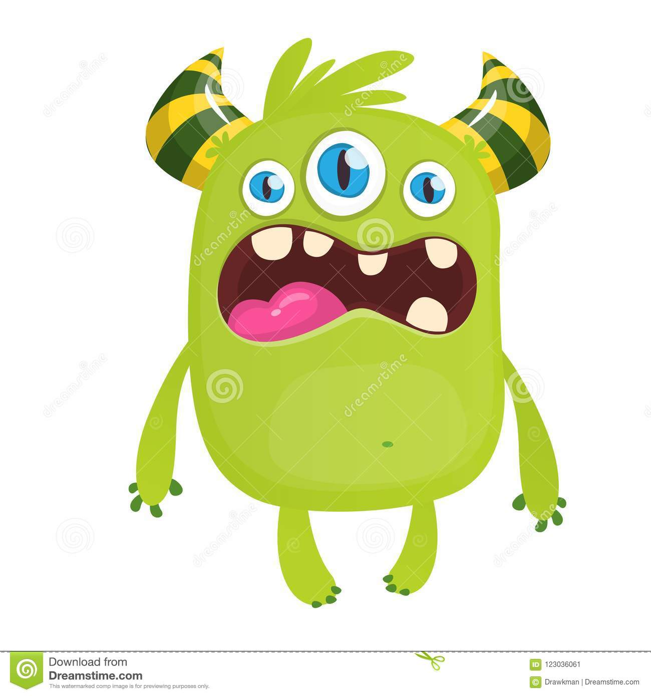 Angry Green Cartoon Monster With Horns An Three Eyes Big Collection Of Cute Monsters Halloween Character Vector Illustrations Stock Vector Illustration Of Face Evil 123036061
