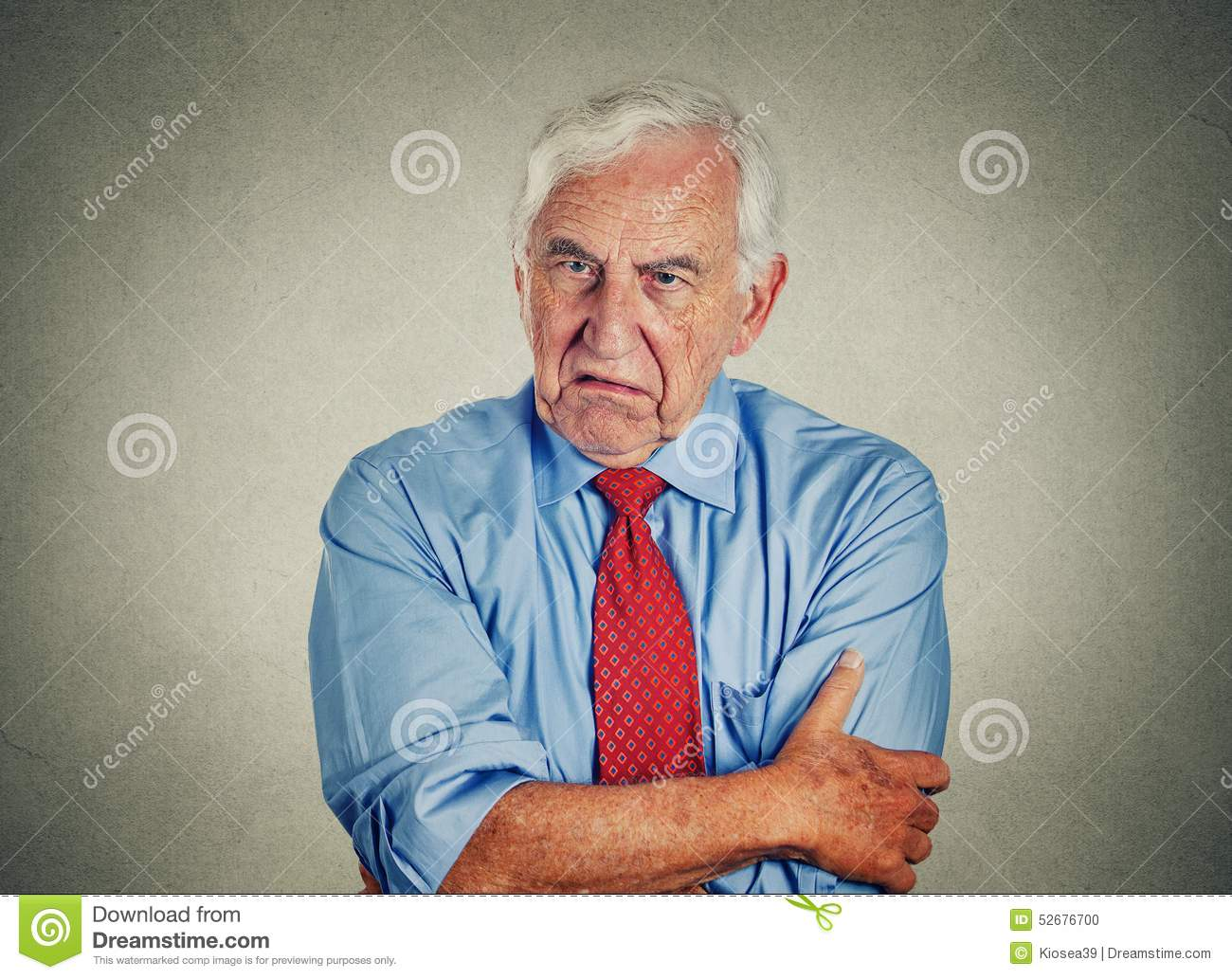 Angry grumpy off senior mature man