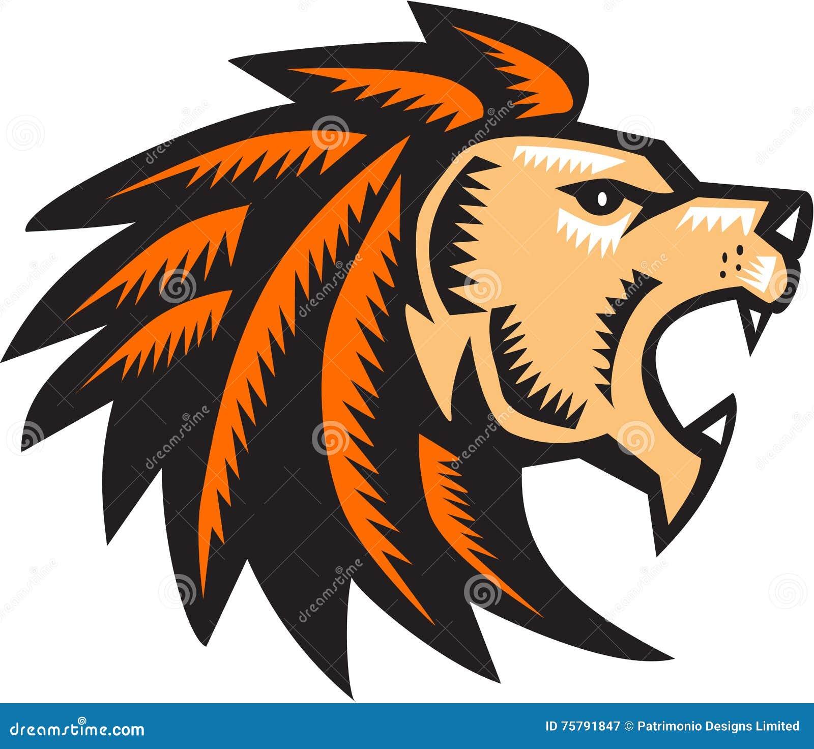 Big Cat Growl: Angry Lion Big Cat Growling Head Woodcut Stock Vector