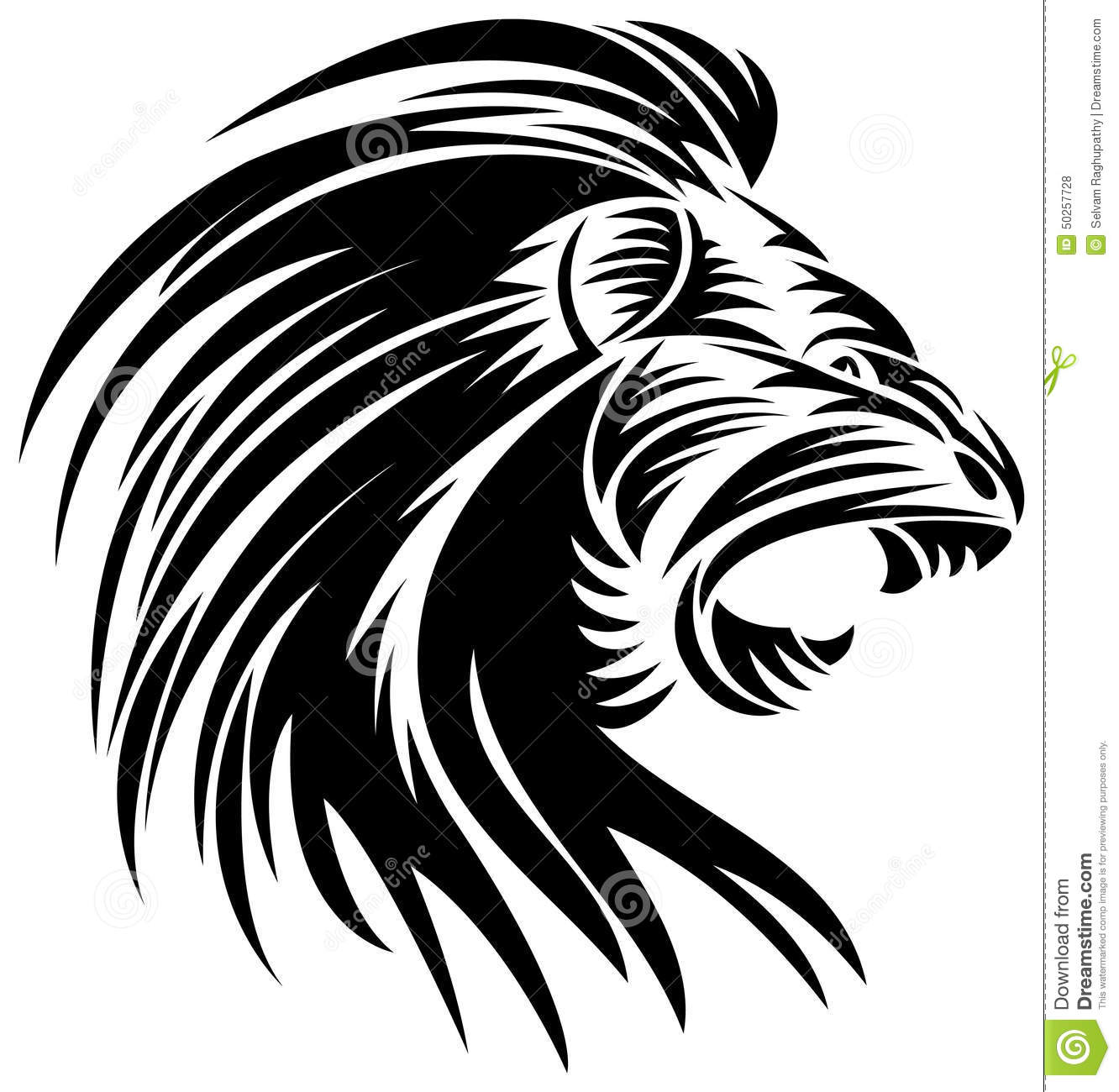 Line Art Media Design : Angry lion stock vector illustration of emblem line
