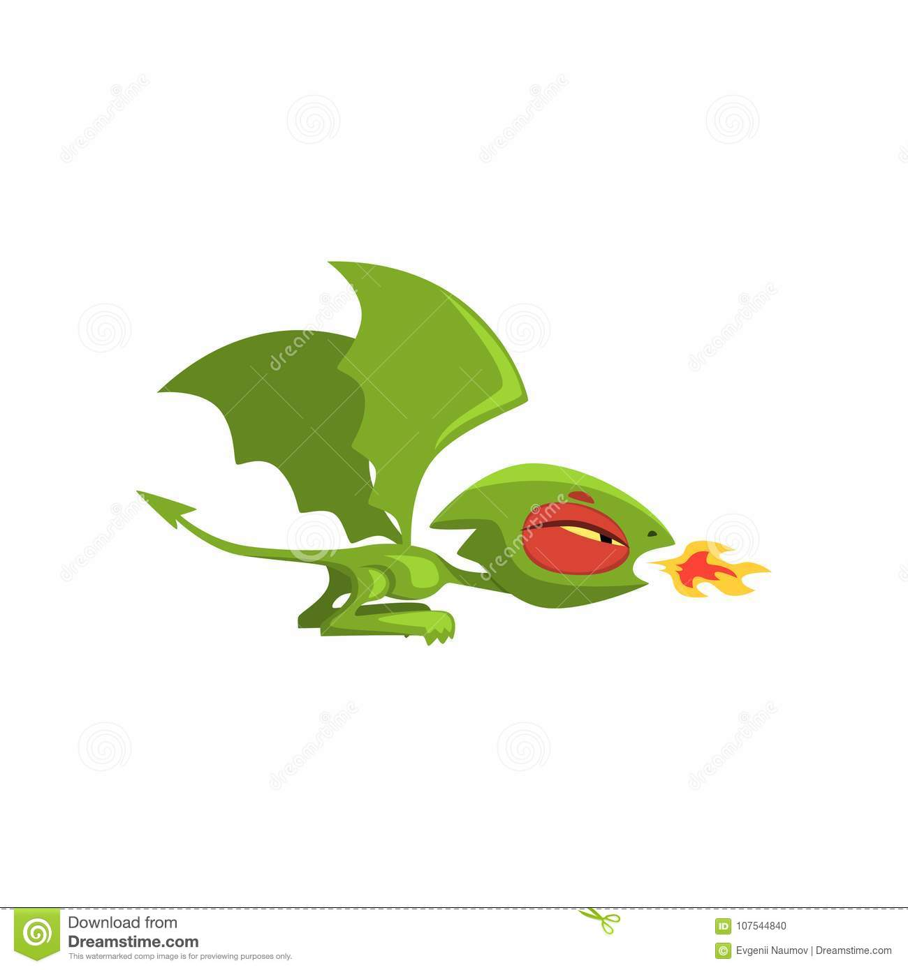 Angry Little Dragon Breathing Fire  Green Fairy Tale