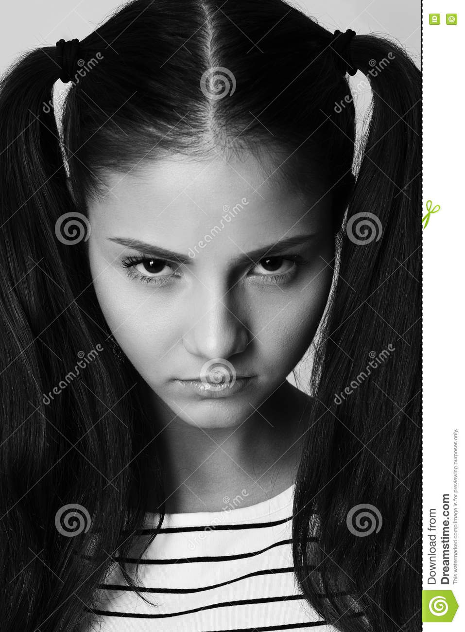 Angry Little Girl With Pigtails Fashion Model Upset Stock -8138