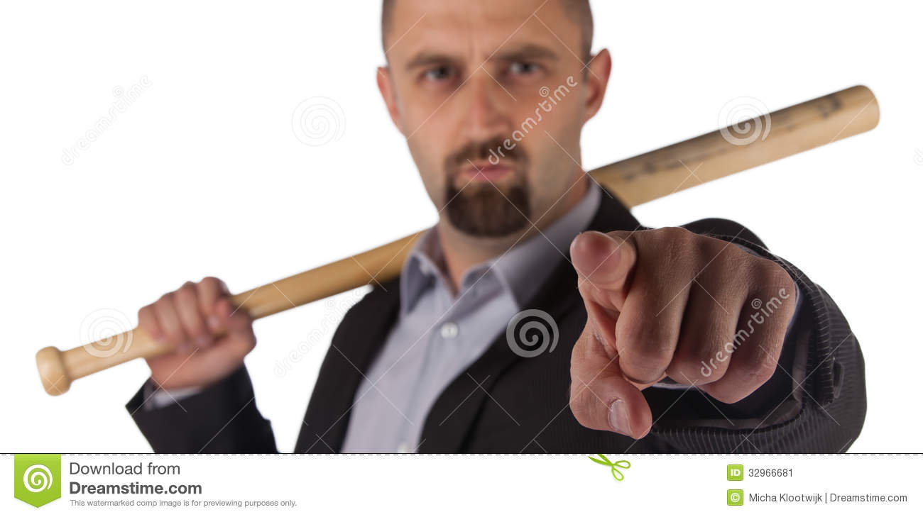 Angry Looking Man With Bat Stock Image Image 32966681